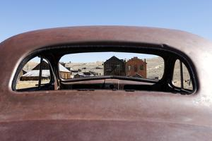 Abandoned Buildings Through an Old Car Window in Bodie Ghost Town by Jill Schneider