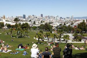 People Enjoying the View of San Francisco from Dolores Park by Jill Schneider