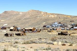View of Abandoned Houses with Standard Mill in Bodie Ghost Town by Jill Schneider