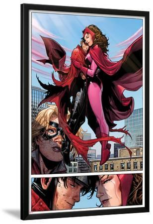Avengers: The Childrens Crusade No.6: Panels with Scarlet Witch and Wiccan Flying and Hugging by Jim Cheung