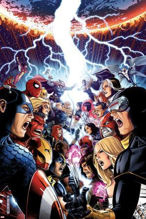 Avengers Vs. X-Men No.1 Cover: Captain America, Cyclops, Emma Frost, Gambit and Others Screaming by Jim Cheung