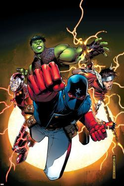 The Young Avengers No.1 Cover: Patriot, Hulkling, Wiccan, Iron Lad, Asgardian and Young Avengers by Jim Cheung