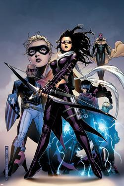 Young Avengers No.10 Cover: Bishop, Kate, Patriot, Wiccan, Stature, Vision and Hulkling Stretching by Jim Cheung