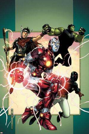Young Avengers No.3 Cover: Iron Lad, Wiccan, Hulkling and Patriot by Jim Cheung