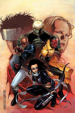 Young Avengers No.9 Cover: Bishop, Kate, Hulkling, Vision and Patriot by Jim Cheung