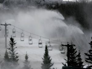 Snow Guns Pump out Man-Made Snow at Bretton Woods Ski Area, New Hampshire, November 20, 2006 by Jim Cole