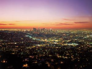Sunrise Over Los Angeles Cityscape, CA by Jim Corwin