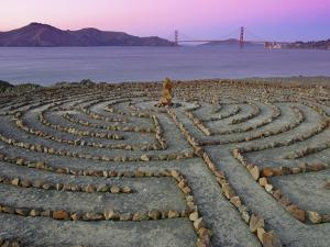 Lands End Labyrinth at Dusk with the Golden Gate Bridge, San Francisco, California by Jim Goldstein