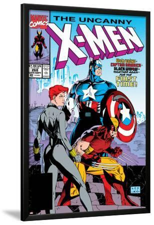 Uncanny X-Men No.268 Cover: Black Widow, Wolverine and Captain America by Jim Lee