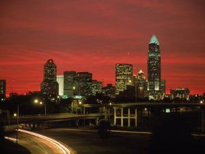 Skyline & Highway at Night, Charlotte, NC by Jim McGuire