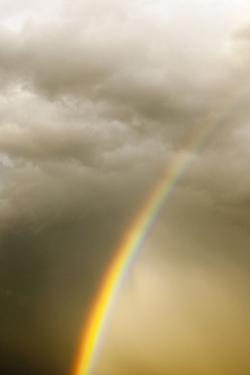 A Vivid Rainbow in a Cloud-Filled Sky by Jim Reed