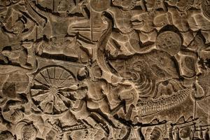 A Close Up of Sandstone Bas Relief in Angkor Wat by Jim Ricardson