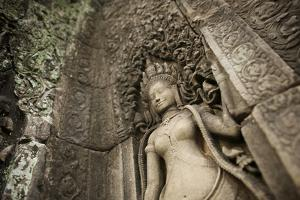 Lichens Grow on Ornate Stone Carvings and Bas Relief at Angkor Wat by Jim Ricardson