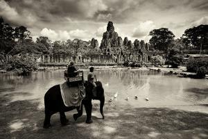 Tourists Travel by Elephant on the Grounds of the Temple, Bayon by Jim Ricardson