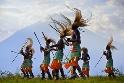 A Tribal Dance Group with a Panoramic View by Jim Richardson