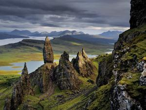 Basalt pinnacles loom over the Sound of Raasay. by Jim Richardson