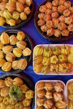 Ground Cherries on Display at Agricultural Fair in the Andes of Peru by Jim Richardson