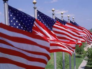 US Flags at Louisiana Mem Plaza, Baton Rouge by Jim Schwabel