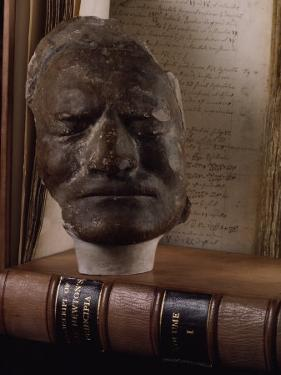 Death Mask of Sir Isaac Newton Beside Original Hand-Written Copy of His Masterpiece the Principia by Jim Sugar