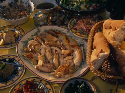 Table with a Spread of Provincial French Food from the South by Jim Sugar