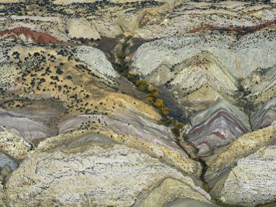 Aerial View of Folded Strata and a Dinosaur Quarry, Dinosaur National Monument, Colorado, USA