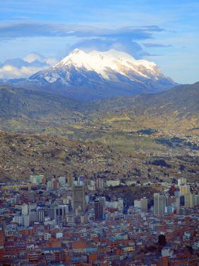 Aerial View of the Capital with Snow-Covered Mountain in Background, La Paz, Bolivia by Jim Zuckerman