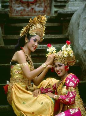 Balinese Dancers in Front of Temple in Ubud, Bali, Indonesia by Jim Zuckerman