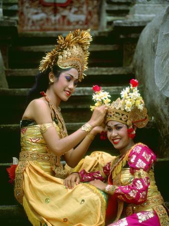 Balinese Dancers in Front of Temple in Ubud, Bali, Indonesia by Jim Zuckerman