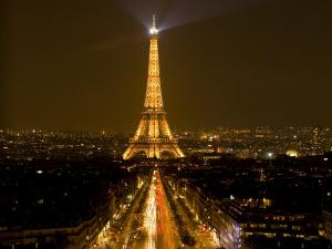 Digital Composite of Eiffel Tower and Champs-Elysees at Nighttime, Paris, France by Jim Zuckerman