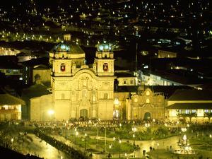 Nighttime Aerial View of the Main Square Featuring the Cathedral of Cusco, Cusco, Peru by Jim Zuckerman