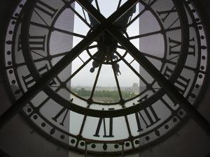 View Across Seine River from Transparent Face of Clock in the Musee d'Orsay, Paris, France by Jim Zuckerman