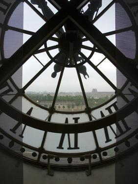 View Across Seine River Through Transparent Face of Clock in the Musee d'Orsay, Paris, France by Jim Zuckerman