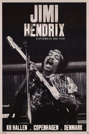 Jimi Hendrix Copenhagen 1970 Music Poster