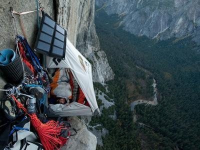 Climbers Live in a Portaledge When Working on a Route by Jimmy Chin