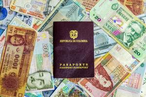 Colombian Passport and Money by jkraft5