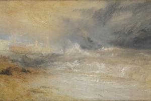 Waves Breaking on a Lee Shore at Margate (Study for 'Rockets and Blue Lights') by JMW Turner