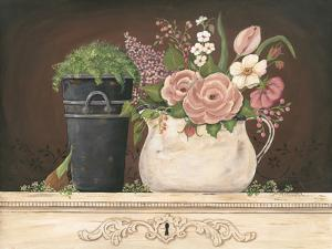Floral with Black Bucket by Jo Moulton