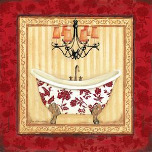 Red Demask Bath I by Jo Moulton