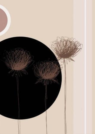 Three Dandelions on Black Circle by Jo Parry