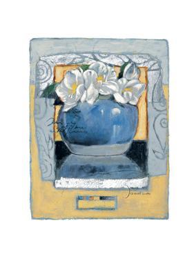 Pot of White Pansies by Joadoor