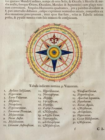 Wind Rose with the 32 Winds Ofthe World, from the 'Atlas Maior, Sive Cosmographia Blaviana', 1662