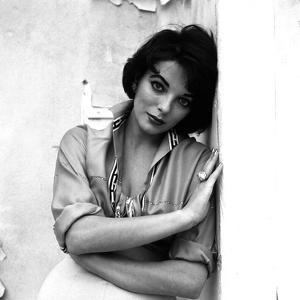 Joan Collins, English actress born May 23rd, 1933, here 1958 (b/w photo)