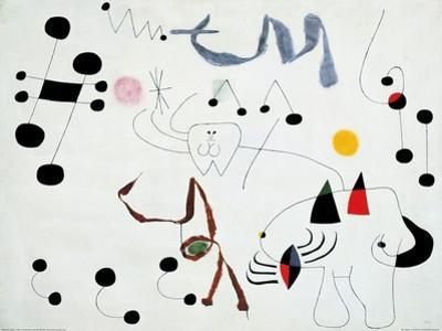 Mujer Sonando en su Evansion, c.1945 by Joan Miró