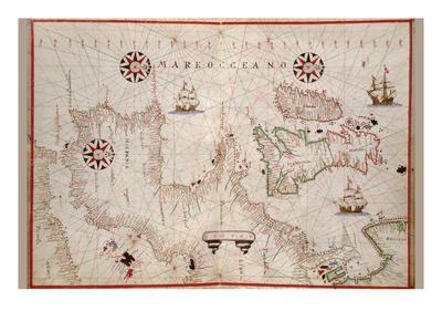 Portolan Map of Spain, England, Ireland and France