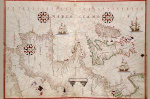 Portolan Map of Spain, England, Ireland and France by Joan Oliva
