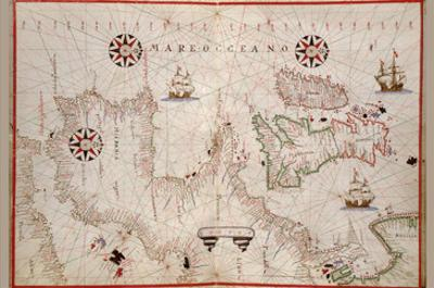 Portolan Map of Spain, England, Ireland and France