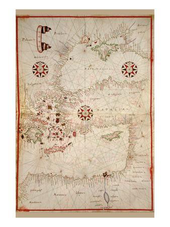 Portolan Map of Turkey, Mediterranean, Adriatic and the Agean