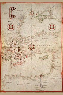 Portolan Map of Turkey, Mediterranean, Adriatic and the Agean by Joan Oliva