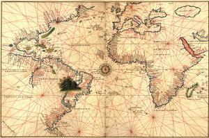 Portolan World Map by Joan Oliva