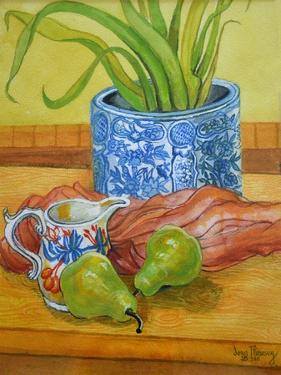 Blue and White Pot, Jug and Pears by Joan Thewsey